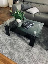 hochglanz glastisch schwarz wohnzimmer tisch