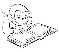 Curious George Reading Book Coloring Page