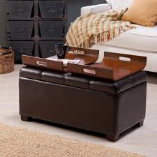 Coffee Tables Storage Ottoman With Tray Square Rectangular Image