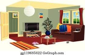 unordentlich wohnzimmer clipart lizenzfrei gograph