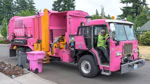 Waste Connections' Pink Recycling Truck! - YouTube