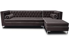 Breathtaking Tan Leather Tufted Sectional With Chaise Lounge Sofas As Well Square