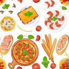 nahtloses muster italienische küche pizza spaghetti risotto bruschetta und grissini klassische italienische speisen auf tellern und holzplanke flache