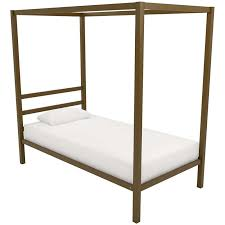 DHP Modern Twin Metal Canopy Bed in Gold