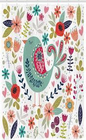 abakuhaus duschvorhang badezimmer deko set aus stoff mit haken breite 120 cm höhe 180 cm volk verziert vogel und blumen kaufen otto