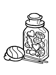 The Sweets In Jar Coloring Pages