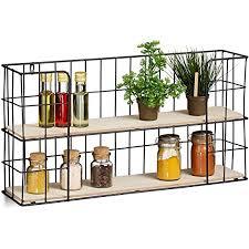 relaxdays wandregal für gewürze deko 2 ablagen küche wohnzimmer mdf metall vintage küchenregal natur schwarz