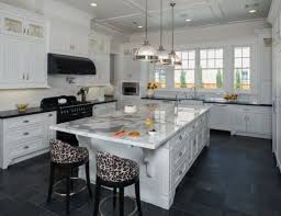 Luxury Black Tile Slate Floors Kitchen Cabinet With Marble Countertop For Room Decor