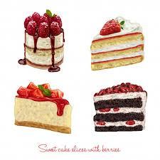 Hand drawn beautiful cake slices Premium Vector