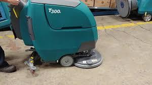 Tennant Floor Scrubber T3 by Tennant T300e Walk Behind Floor Scrubber Test Youtube