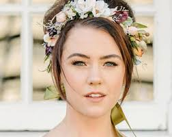 Woodland Rustic Flower Crown Headband Green Headpiece Floral Wedding Hair Wreath