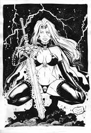 Lady Death Original Comic Art On By Josh 11 X17