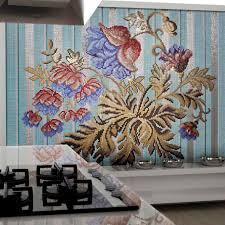 kitchen mosaic tile wall glass floral mediterranea