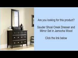 shoal creek dresser jamocha sauder shoal creek dresser and mirror set in jamocha wood
