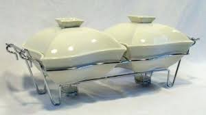Ceramic Chafing Dish White Porcelain Dishes W Flame Heating Inserts