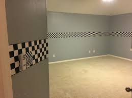 Checkered Flag Bedroom Curtains by Light Grey Walls With Checkered Flag Ribbon Wallpaper Border And