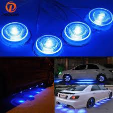 possbay 8 pcs led blue light car glow underbody system neon lights