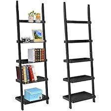 amazon com walnut 5 tier leaning ladder book shelf kitchen u0026 dining