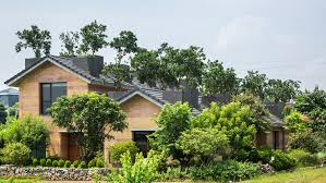 100 House Earth Trees Grow From The Roofs Of Vo Trong Nghias Stripy Rammedearth House
