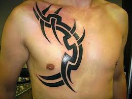 Tribal Simple Design Tattoo On Chest For Men