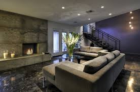 Concrete Tile Fireplace Purple Accent Wall Grey Flooring Decorating Basement Family Room