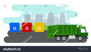 100 Waste Management Garbage Truck City Landscape Containers Recycling Sorting Stock Vector