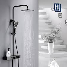 duschsystem mit led temperatur anzeige schwarz duscharmatur regendusche duschsäule mit regal 3 funktionen duschset überkopfbrause edelstahl