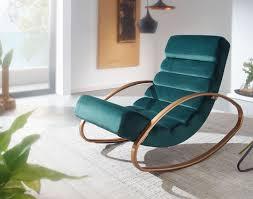 relaxliege samt grün gold 110 kg belastbar relaxsessel 61x81x111 cm design schaukelstuhl innenbereich schwingstuhl lounge liege modern