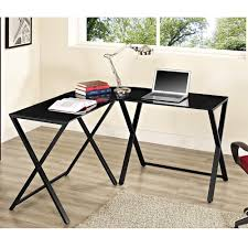 Walker Edison 3 Piece Contemporary Desk Instructions by Walker Edison X Frame Glass And Metal L Shaped Computer Desk