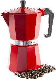 Andrew James Stove Top Espresso Maker Moka Pot In Red 6 Cup Includes Replacement Silicone Gasket Cool Touch Handle And Flip Lid Amazoncouk