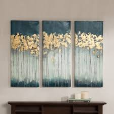 Porch Den Midnight Forest Gold Foil Embellished 3 Piece Canvas Set