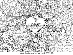 Heart On Flowers For Coloring Books Adult Or Valentines Card Vektorova Ilustrace 461258959 Shutterstock
