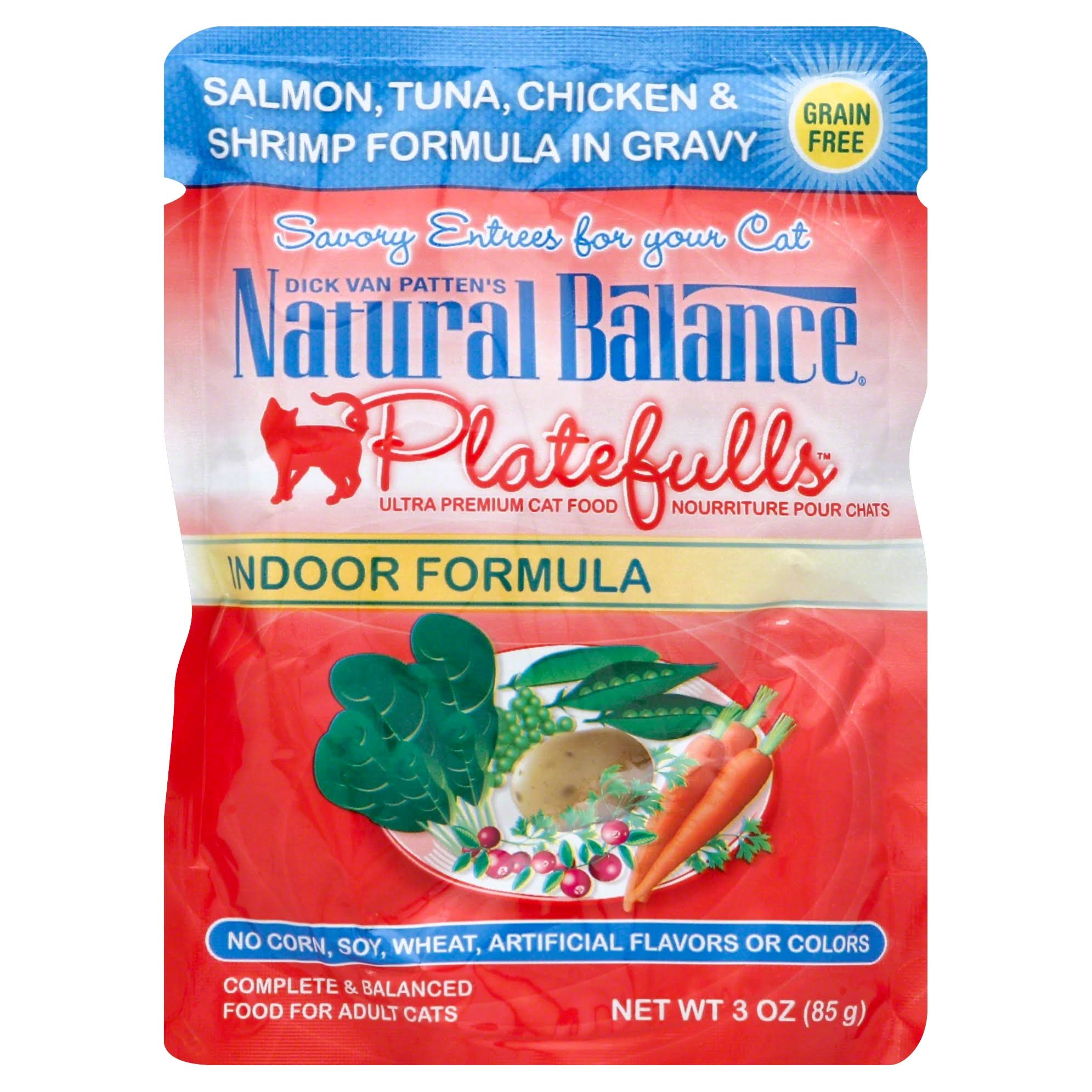 Natural Balance Platefulls Adult Cat Food - Salmon, Tuna, Chicken & Shrimp in Gravy, 85g