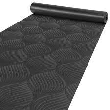 premium läufer küchen teppich rutschfest waschbar blätter ornament anthrazit 65x300cm