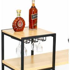 stehtisch hoher holztisch bartisch mit 2 weinregalen für küche esszimmer
