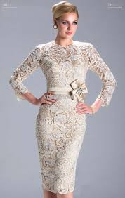 crew column white lace long sleeve bridesmaid dress knee length