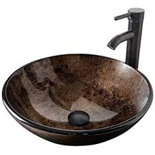 elecwish bathroom vessel sink with faucet mounting ring and pop up