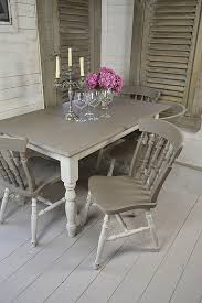 Fascinating Grey And White Shabby Chic Dining Table With 4 Chairs