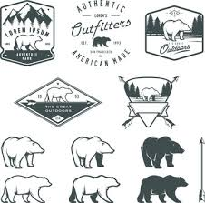 Hand Drawn Polar Bear Logos Vector