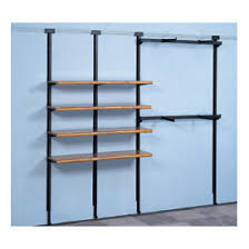 Display Solutions Curved Black Metalholder Wooden Upright And Wall Track System Blue Colored Grey Floor Metal Holder Rectangular Shelf