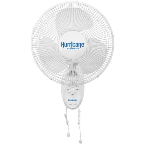 Hurricane Supreme Oscillating Wall Mount Fan - 12""