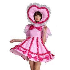 Crossdressed For Halloween by Gocebaby Baby Sissy Lockable Maid Pvc Pink Dress Uniform