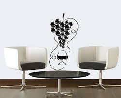 Wall Decals Wine Glass With Grapes Decal Vinyl Sticker Kitchen Decor Cafe Art Restaurant Design Window Living Room Murals