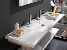 Double Faucet Trough Sink Vanity by Amazing Two Faucet Trough Sink Houzz Throughout Trough Bathroom