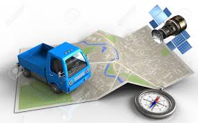 100 Commercial Gps For Trucks 3d Illustration Of Map Paper With Truck And Satellite Stock