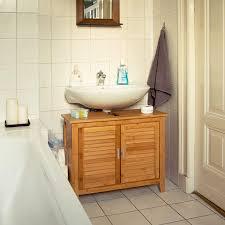 relaxdays 3 tlg badeinrichtungs set lamell waschbeckenunterschrank badschrank mit türen hängeschrank mit handtuchhalter bambus
