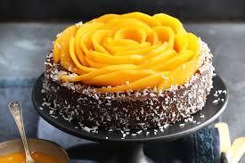 schokoladen kokos torte mit mango