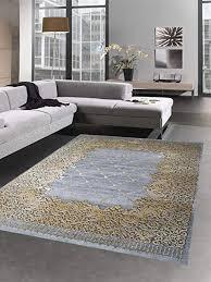 carpetia teppich modern wohnzimmer teppich ornamente grau senfgelb gold größe 80x150 cm
