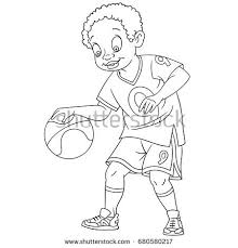 Coloring Page Of Boy Playing Basketball Colouring Book For Kids And Children Cartoon Vector