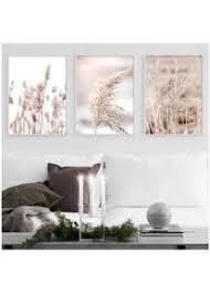getrocknete blumen pflanze beige reed weizen nordic poster